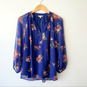 LUCKY BRAND Royal Blue Floral Peasant Blouse S